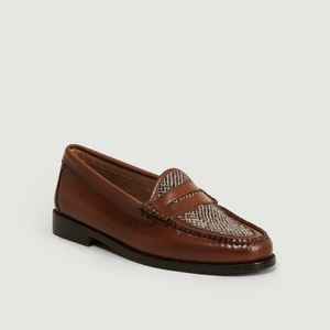Weejuns Whitney Harris Tweed Loafers Mid Brown Leather And Textile G.H.Bass