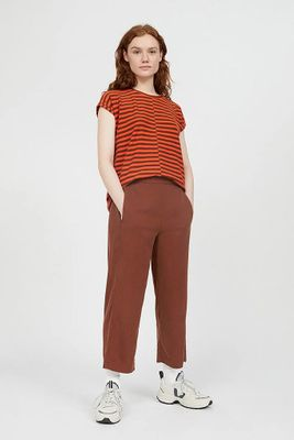 KAMALAA LYOCELL CROPPED TROUSERS CACAO