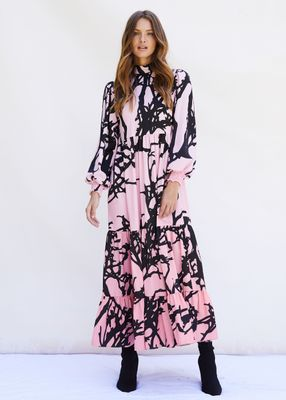 BETTY Dress Midaxi puffed long sleeve and high neck in Pink Tree