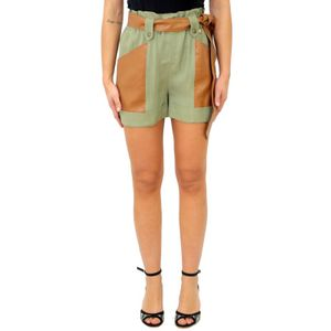 TWINSET Shorts canvas with faux leather inserts OIL GREEN