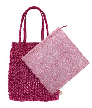 Dilli Grey x Bell & Fox rani pink macrame shopper