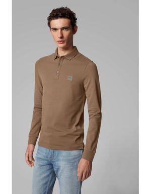 Boss Passerby Long Sleeve Slim Polo Colour: Beige
