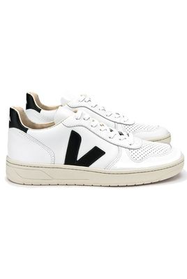 V-10 Leather Trainers - Extra-White Black