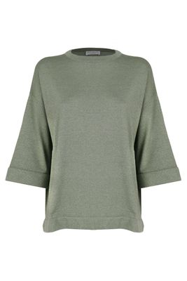 BRUNELLO CUCINELLI WOMEN'S M41810030C9374 GREEN CASHMERE JUMPER