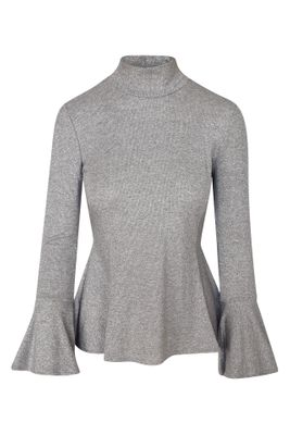 Haris Cotton Silver Jersey Knit Blouse With Ruffled Sleeves