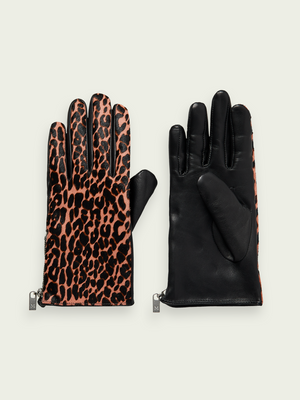 Scotch & Soda Printed Leather Gloves
