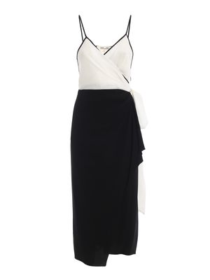 Avila black and white crepe wrap dress