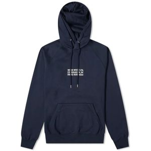 Wood Wood Fred Chest Logo Hoody Navy