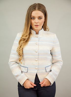 BARILOCHE CEDRO TWEED STRIPE JACKET PALE BLUE
