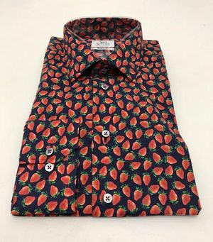 Navy Shirt with Strawberry Print