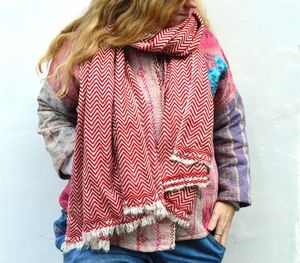Dilli Grey Red chevron patterned cashmere scarf