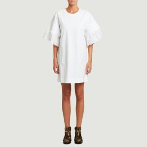 Embroidered short sleeves short dress White powder See by Chloé
