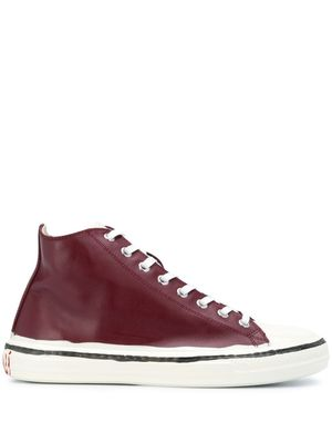 MARNI WOMEN'S SNZW006602P3350ZN008 BURGUNDY LEATHER HI TOP SNEAKERS