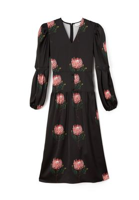 DAISY Midaxi dress with puffed sleeves and V-Neck in Black Protea