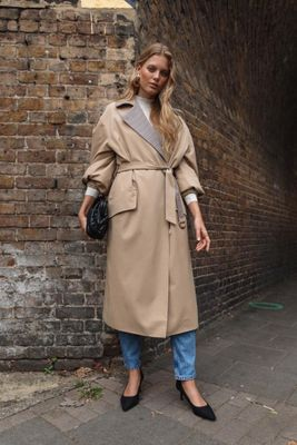 Puff Sleeve D-Ring Trench Coat