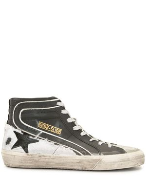 GOLDEN GOOSE MEN'S GMF00115F00079490184 BLACK LEATHER HI TOP SNEAKERS