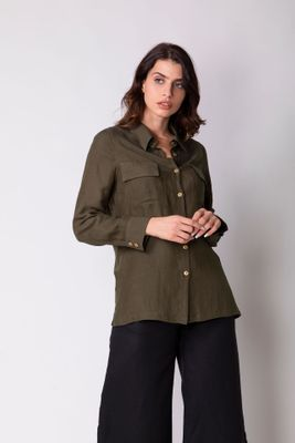 Haris Cotton Linen Shirt With Front Pockets - Olive