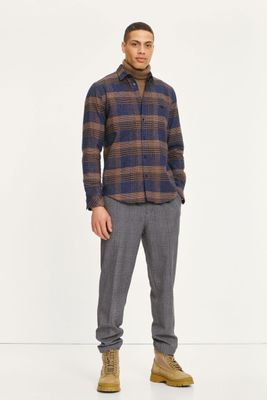Samsoe & Samsoe Mens Agnar Grey Melange Check Trousers