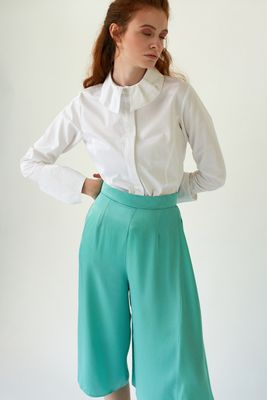 FEATHER White Poplin Shirt with Folded Collar and Cuffs