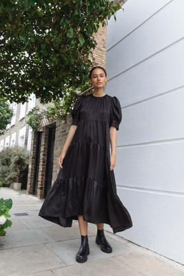 Tiered Satin Puff Sleeve Dress