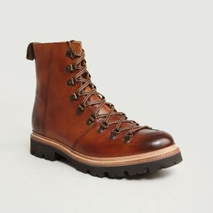 Brasy Mountaineering Boots Tan Handpainted Grenson