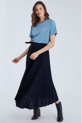 Maison Labiche Pleated Navy Skirt