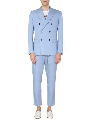 DOLCE E GABBANA MEN'S GKO9ETFU5SZB1932 LIGHT BLUE COTTON SUIT