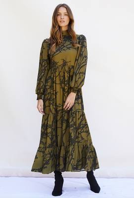 BETTY Dress Midaxi with puffed long sleeve and high neck in Khaki Tree