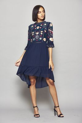 Frock and Frill Imelia Embroidered Dipped Hem Dress