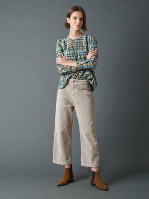 Indi & Cold Crop Cord Trousers in Piedra