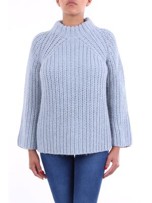 Crochè light blue crew-neck sweater with long sleeves
