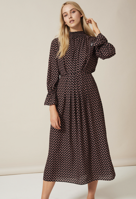 FELICITY High Nick Dress in Double Georgette in Small Black Protea