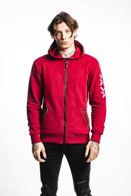 RH45 Doberman Sleeve Hoodie Red Colour: Red,