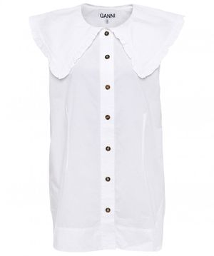 Ganni Cotton Poplin Sleeveless Shirt Colour: White
