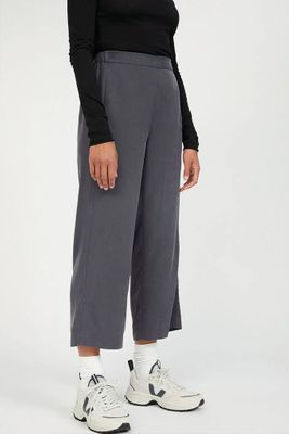 KAMALAA LYOCELL CROPPED TROUSERS ANTHRA