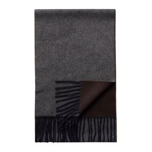 Eton - Dark Grey/ Brown Double Sided Wool Scarf A00031893700