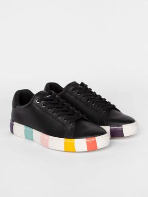 Paul Smith Black Leather 'Lapin' Trainers With Striped Soles W1S-LAP47-ECAS-79
