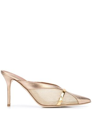 MALONE SOULIERS WOMEN'S BOBBI85GOLD GOLD LEATHER HEELS