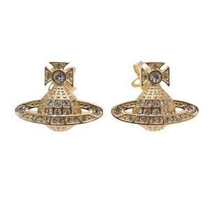 Vivienne Westwood Minnie Bas Relief Earrings - Gold/White Crystal