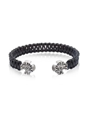 BE UNIQUE MEN'S GOTHIKBLACK BLACK LEATHER BRACELET