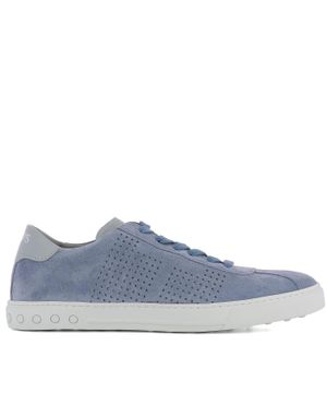 TOD'S MEN'S XXM0XY0X990EYD3RD3 LIGHT BLUE SUEDE SNEAKERS
