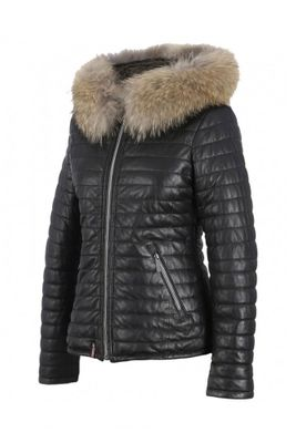 Happy Black Leather Down Jacket with Fur Hood