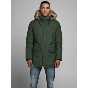 Jack & Jones Faux Fur-Lined Hood Parka - Dark Green Melange