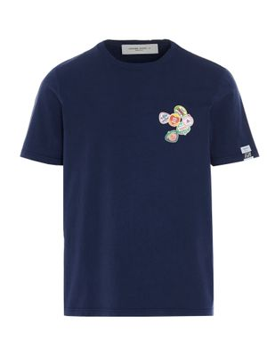 GOLDEN GOOSE MEN'S GMP00781P00043550510 BLUE OTHER MATERIALS T-SHIRT