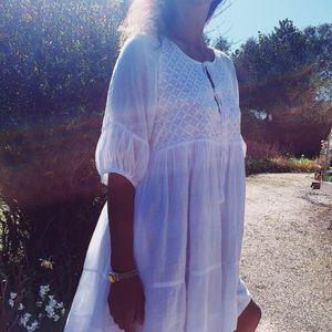 White hand embroidered hippie tunic dress