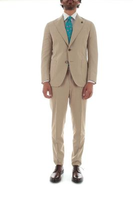 PARTHENOPE MEN'S WWA44037 BEIGE WOOL SUIT