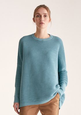 Paisie Ribbed Jumper with Side Splits in Teal