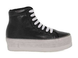 JC PLAY BY JEFFREY CAMPBELL WOMEN'S JCPLAHOMG BLACK LEATHER HI TOP SNEAKERS
