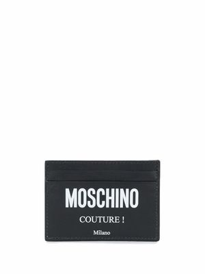 MOSCHINO MEN'S A810380012555 BLACK LEATHER CARD HOLDER