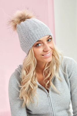 Brodie Cashmere Miss Cable Fur Hat